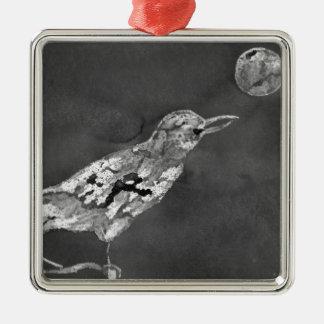 Raven et lune ornement carré argenté