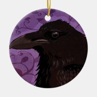 Raven Ornement Rond En Céramique