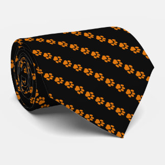 Rayé Orange-et-Noir, cravate d'empreinte de patte