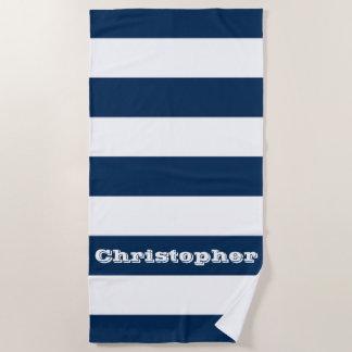 Rayure bleue serviette de plage