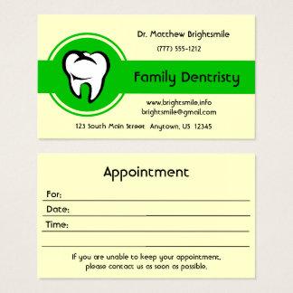 Rayure centrale verte audacieuse de dent blanche cartes de visite