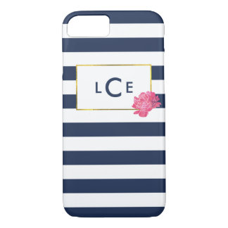 Rayure de marine et coque iphone rose de