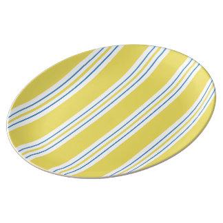 Rayure de tente - jaune assiette en porcelaine