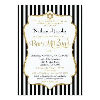 Rayure élégante d'or de noir d'invitation de carton d'invitation  12,7 cm x 17,78 cm