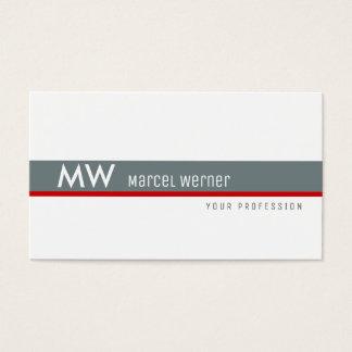 rayure grise et rouge masculine décorée d'un cartes de visite