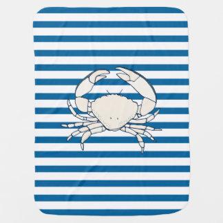 Rayure horizontale bleue et blanche de crabe blanc couverture pour bébé