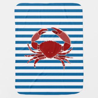 Rayure horizontale bleue et blanche de crabe rouge couverture de bébé