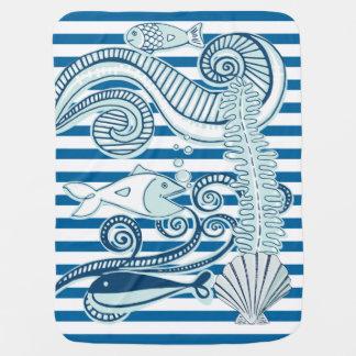 Rayure horizontale bleue et blanche d'océan et de couvertures pour bébé