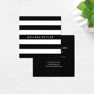 Rayure noire et blanche élégante carte de visite carré