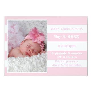 Rayure rose et blanche - faire-part de naissance