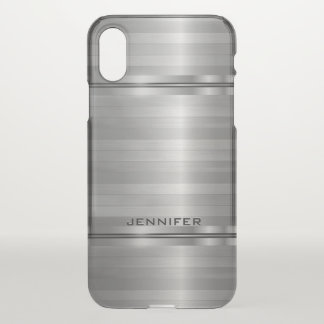 Rayures argentées métalliques brillantes coque iPhone x