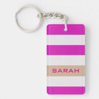 Rayures audacieuses roses avec le nom fait sur porte-clés
