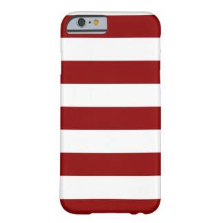 Rayures - blanches et rouge foncé coque iPhone 6 barely there