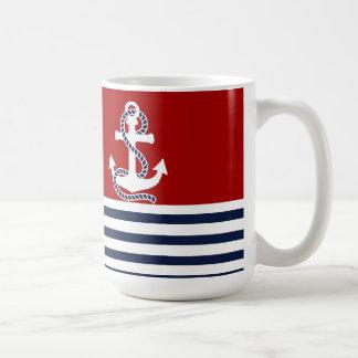 Rayures blanches nautiques de bleu marine et ancre mug blanc