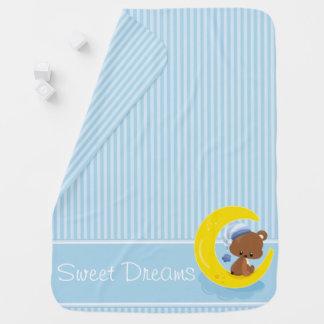 Rayures bleues avec l'ours de nounours   couvertures pour bébé