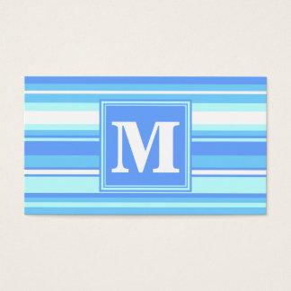 Rayures bleues de ciel de monogramme cartes de visite