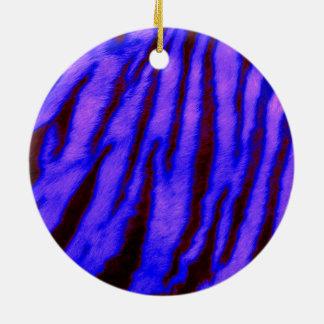 Rayures bleues sauvages et vibrantes de tigre ornement rond en céramique