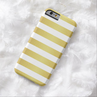 Rayures chics de scintillement de blanc et d'or coque iPhone 6 barely there