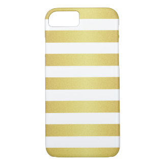 Rayures chics de scintillement de blanc et d'or coque iPhone 7