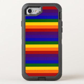Rayures colorées par arc-en-ciel coque otterbox defender pour iPhone 7