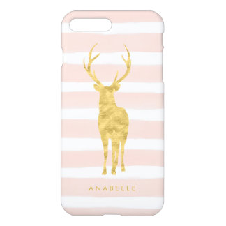 Rayures d'aquarelle et cerfs communs roses d'or coque iPhone 7 plus