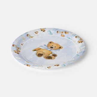 Rayures d'aquarelle et ours de nounours bleus de assiettes en papier