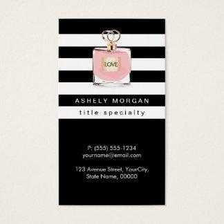Rayures de blanc de noir de magasin de parfums du carte de visite standard