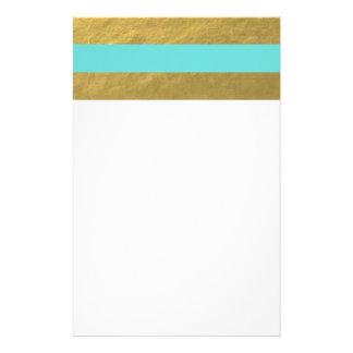 Rayures de bleu et de feuille d'or de Tiffany Papeterie