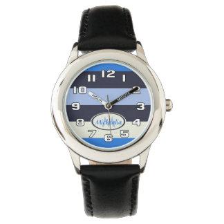 Rayures de bleus contemporaines de cool de montres
