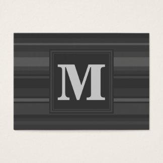 Rayures de charbon de bois de monogramme carte de visite grand format