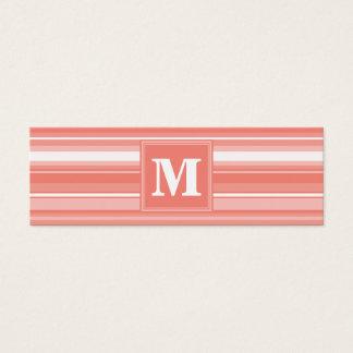 Rayures de corail de monogramme carte de visite petit format