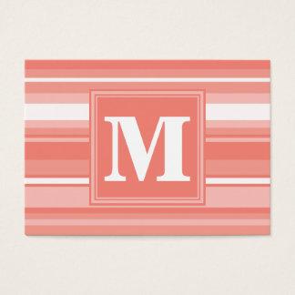 Rayures de corail de monogramme cartes de visite