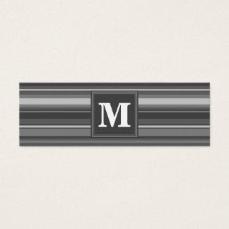 Rayures de gris de monogramme mini carte de visite