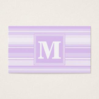 Rayures de lilas de monogramme cartes de visite