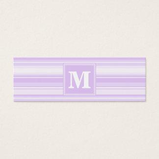Rayures de lilas de monogramme mini carte de visite