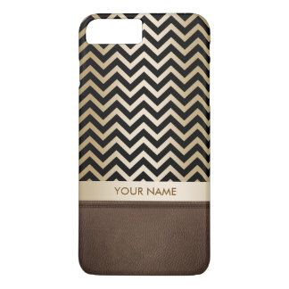Rayures de luxe de Chevron de noir et d'or Coque iPhone 7 Plus