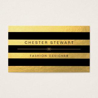 Rayures de luxe de noir d'or - coutume à la mode cartes de visite