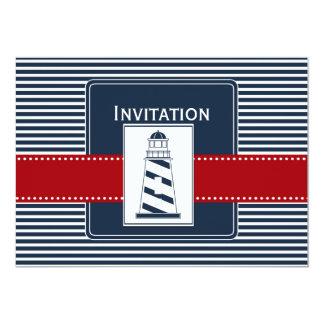 rayures de marine, phare, invitations nautiques de