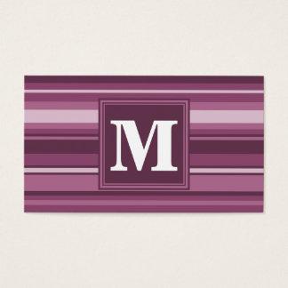 Rayures de mauve de monogramme cartes de visite
