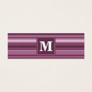 Rayures de mauve de monogramme mini carte de visite