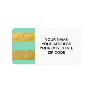 Rayures de menthe et de feuille d'or imprimées étiquette d'adresse