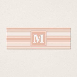 Rayures de pêche de monogramme mini carte de visite