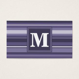 Rayures de pourpre de bruyère de monogramme carte de visite standard