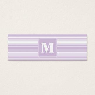 Rayures de pourpre de chardon de monogramme carte de visite petit format