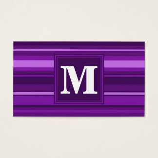 Rayures de pourpre de monogramme cartes de visite