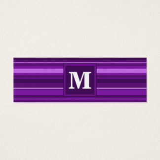 Rayures de pourpre de monogramme mini carte de visite