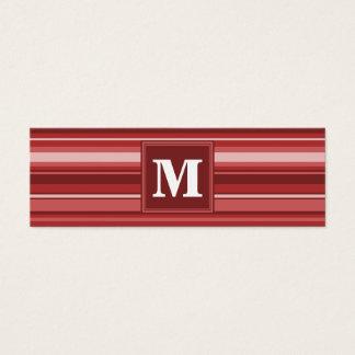 Rayures de rouge de monogramme carte de visite petit format