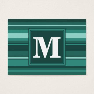 Rayures de sarcelle d'hiver de monogramme carte de visite grand format