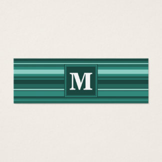 Rayures de sarcelle d'hiver de monogramme mini carte de visite