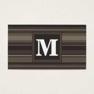 Rayures de taupe de monogramme cartes de visite